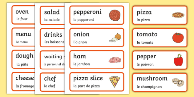 Pizza parlour role play word cards English/French