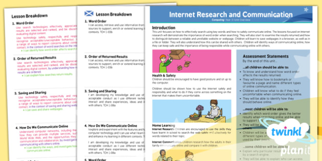 PlanIt - Computing Year 3 - Internet Research and Communication Planning Overview CfE - CfE, Planit, Computers, ICT, internet, searching, communicating online