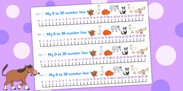 Number Lines 0-30 to Support Teaching on Farmyard Hullabaloo - farm, maths aid, count