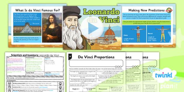 PlanIt - Science Year 5 - Scientists and Inventors Lesson 4: Leonardo da Vinci Lesson Pack - Leonardo da Vinci, anatomy, human body, measuring, proportion