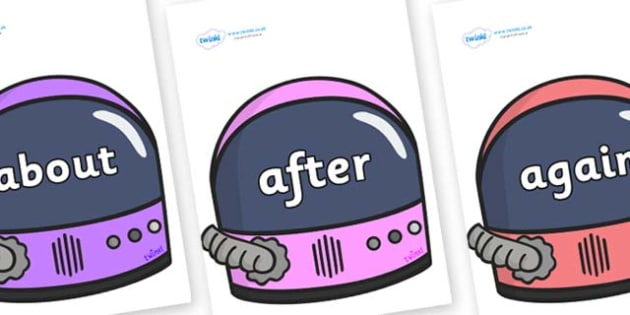 KS1 Keywords on Astronaut Helmet - KS1, CLL, Communication language and literacy, Display, Key words, high frequency words, foundation stage literacy, DfES Letters and Sounds, Letters and Sounds, spelling