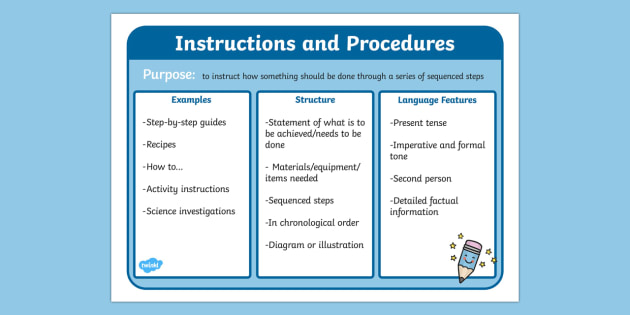Features of Instructions and Procedures Poster - instructions and procedures, instructions, writing instructions, instructions poster, ks2 literacy