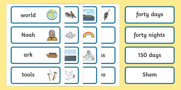 Noah's Ark Word Cards - Noah's Ark, word cards, cards, flashcards, noah, tools, ark, animals, rain, rainbow, flood, dove, land