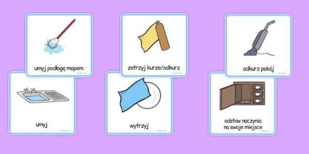 Karty komunikacyjne czynności domowe po polsku - porządki