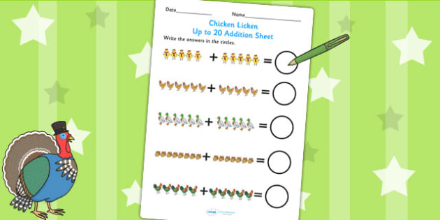Chicken Licken Up to 20 Addition Sheet - story, adding, numeracy