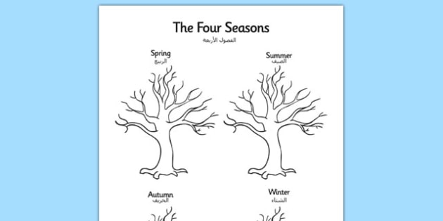 Four Seasons Tree Drawing Template Arabic Translation - arabic, four seasons, four, seasons, tree, drawing