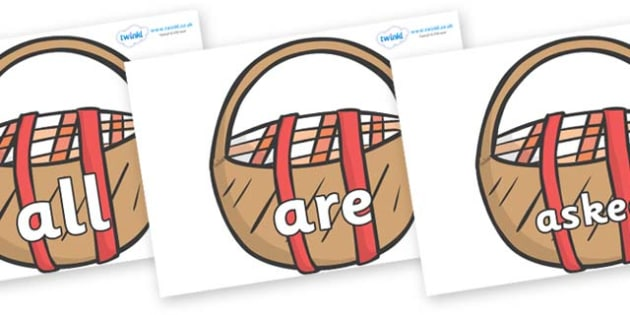 Tricky Words on Picnic Baskets to Support Teaching on The Lighthouse Keeper's Lunch - Tricky words, DfES Letters and Sounds, Letters and sounds, display, words