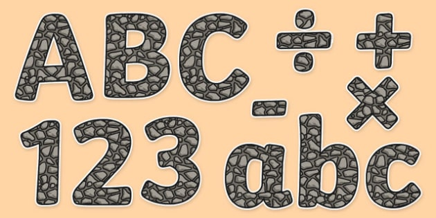 Rock Themed Display Letters and Numbers Pack - rock, display lettering, display, letter, numbers, Science lettering, Science display, Science display lettering