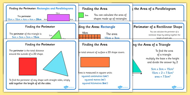 Area And Perimeter Display Posters - area and perimeter, display, poster, sign, perimeter, outside, total distance, length of all sides, length, surface, total amount, area, squared centimetres, squared metres