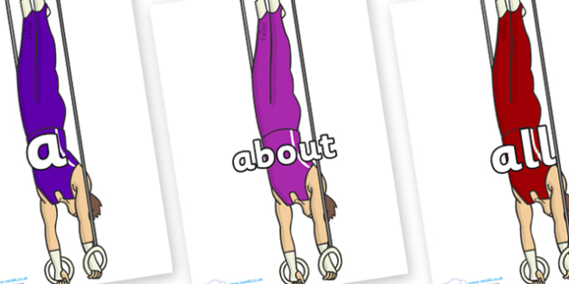 100 High Frequency Words on Gymnasts (Hoops) - High frequency words, hfw, DfES Letters and Sounds, Letters and Sounds, display words