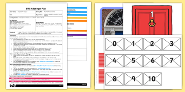 Puzzled Postal Worker EYFS Adult Input Plan and Resource Pack - People who help us, Numbers, letters, doors, post, parcels, postal worker, post office, letterboxes, same, different, numbers