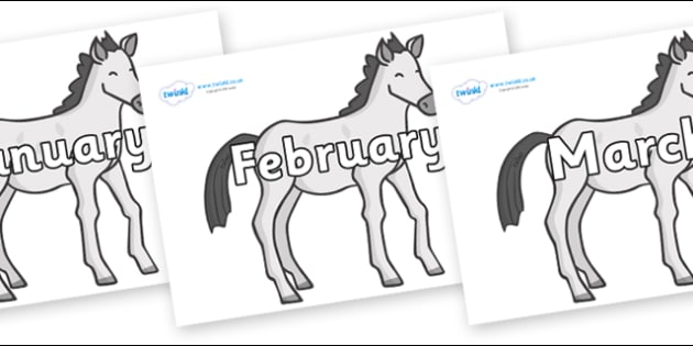 Months of the Year on Ponies - Months of the Year, Months poster, Months display, display, poster, frieze, Months, month, January, February, March, April, May, June, July, August, September