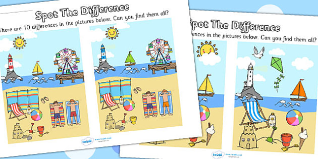 2 Seaside Spot The Difference x2 - spot the difference, seaside, differences, games, activities, puzzles, find the difference, difference game