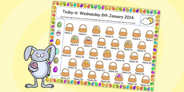 Easter Themed Self Registration Flipchart - easter, self reg