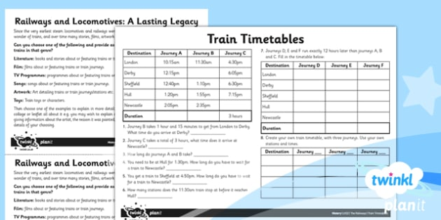 PlanIt - History LKS2 - The Railways Unit Home Learning Tasks