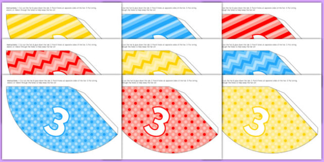 3rd Birthday Party Hats - 3rd birthday party, 3rd birthday, birthday party, party hats