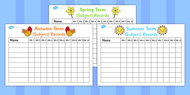 Editable Weekly Record Charts - recording, schedule, storing, changeable, edit, display, information, table
