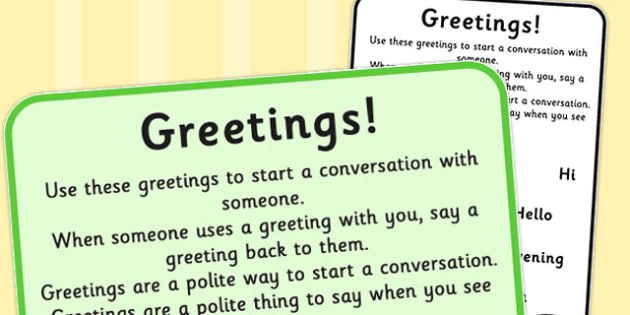 Starting a Conversation Social Greetings - social, greeting