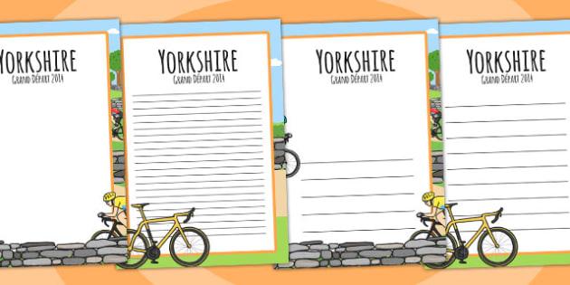 Yorkshire Grand Depart Page Borders - tour de france, writing aid