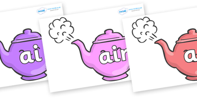 Phase 3 Phonemes on Teapots - Phonemes, phoneme, Phase 3, Phase three, Foundation, Literacy, Letters and Sounds, DfES, display