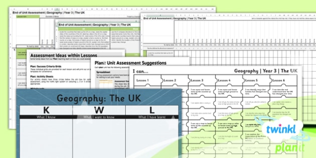 PlanIt - Geography Year 3 - The UK Unit Assessment Pack - planit, geography, year 3, the uk, assessment pack