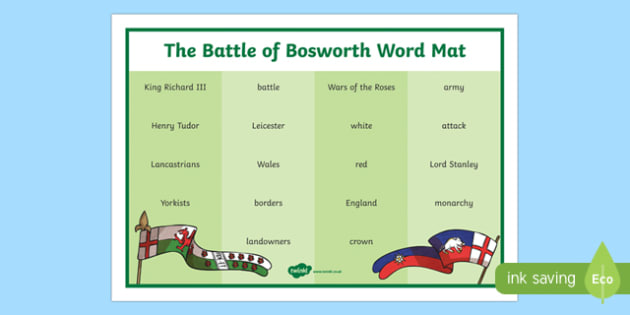 The Battle of Bosworth Word Mat