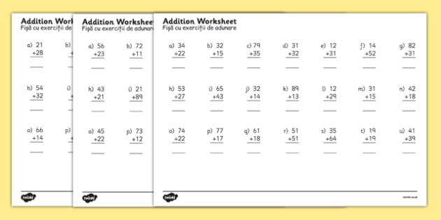 2 Digit Number Addition Worksheets Romanian Translation - romanian, addition worksheets, addition, adding, 2 digit addition worksheets, sums worksheets, addition sums worksheet, ks2