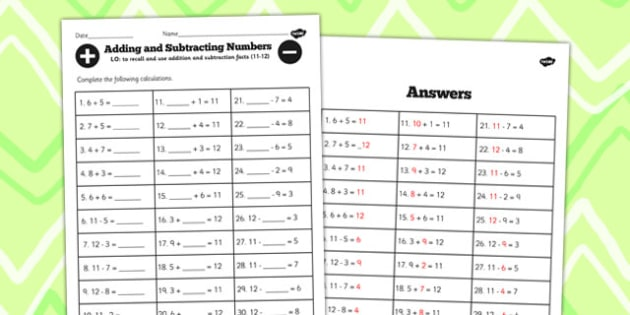 Number Facts Worksheet 11-12 One Digit - number, facts, sheet