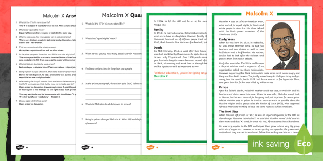 Black History Month:  Malcolm X Differentiated Reading Comprehension Activity