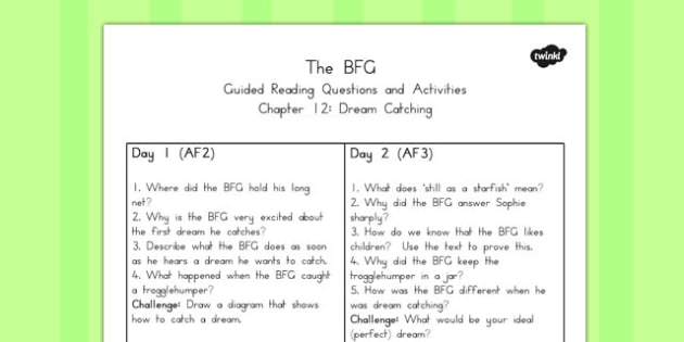 Guided Reading Questions Chapter 12 to Support Teaching on The BFG - australia, bfg, guided reading