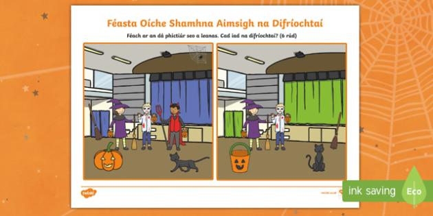 Féasta Oíche Shamhna, Aimsigh na Difríochtaí Activity Sheet Gaeilge