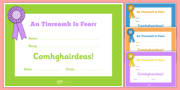 An Tinreamh Is Fearr Gaeilge Certificate
