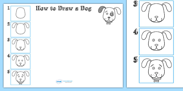 How to Draw a Dog Worksheet - drawing, animals, wet play, design