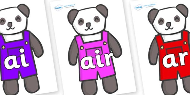 Phase 3 Phonemes on Panda Bears - Phonemes, phoneme, Phase 3, Phase three, Foundation, Literacy, Letters and Sounds, DfES, display