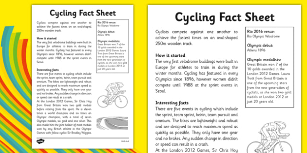 The Olympics Cycling Fact Sheet - the olympics, 2016 olympics, rio olympics, rio 2016, cycling, fact sheet