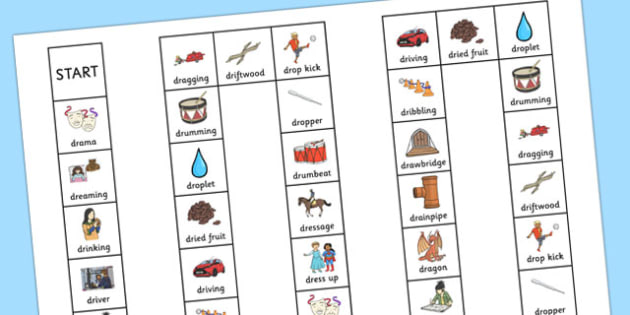 Two Syllable DR Board Game - speech sounds, phonology, articulation, speech therapy, cluster reduction, clusters, blends
