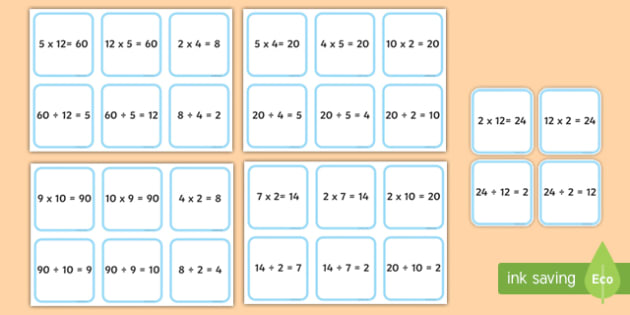 Matching Multiplication and Division Fact Families - calculations, multiply, divide, times tables