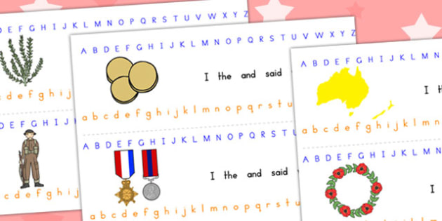 Anzac Day Alphabet Strips - a-z strip, visual aids, writing aid