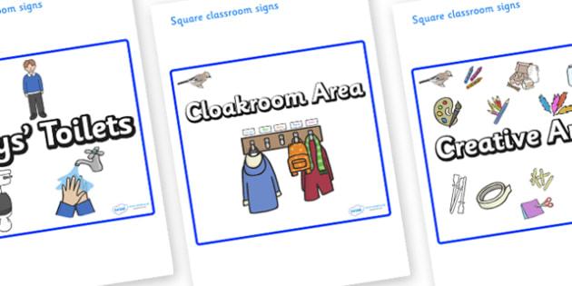 Jay Themed Editable Square Classroom Area Signs (Plain) - Themed Classroom Area Signs, KS1, Banner, Foundation Stage Area Signs, Classroom labels, Area labels, Area Signs, Classroom Areas, Poster, Display, Areas