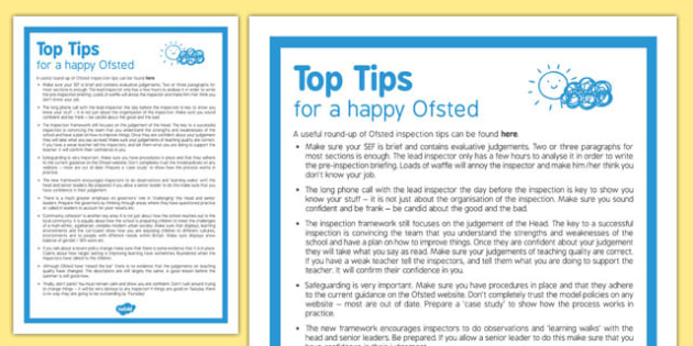 Top Tips for a Happy Ofsted - ten, top tips, happy, ofsted