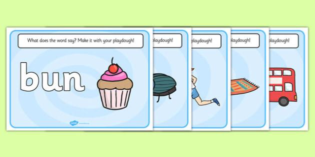 CVC Word Playdough Mats (u) - CVC, CVC word, playdough mat, playdough, three phoneme words, three sound words, consonant vowel consonant, words, three letter words, letters and sounds, DfES letters and sounds