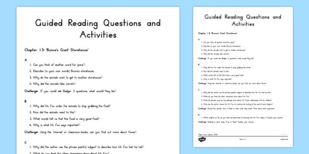 Guided Reading Questions Chapter 13 to Support Teaching on Fantastic Mr Fox - australia