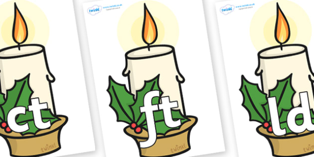 Final Letter Blends on Christmas Candle - Final Letters, final letter, letter blend, letter blends, consonant, consonants, digraph, trigraph, literacy, alphabet, letters, foundation stage literacy