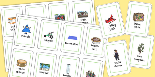 Three Syllable 'TR' Flash Cards - tr sound, syllable, flash cards, sound
