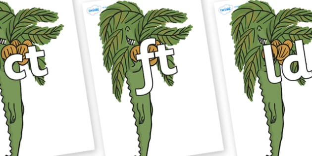 Final Letter Blends on Trick One to Support Teaching on The Enormous Crocodile - Final Letters, final letter, letter blend, letter blends, consonant, consonants, digraph, trigraph, literacy, alphabet, letters, foundation stage literacy