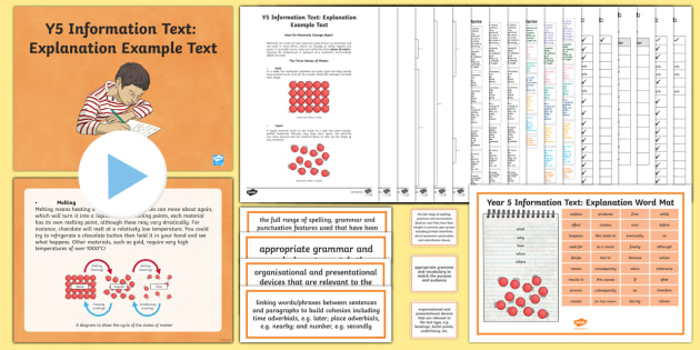 Y5 Information Texts: Explanation Example Text - Example Texts Y5, model, WAGOLL, sample, exemplar, explanation, states of materials, annotation, ann