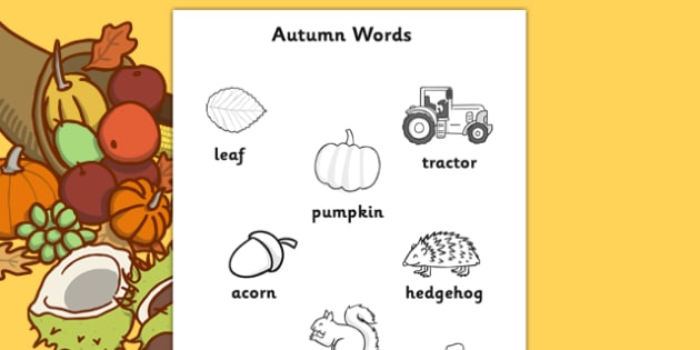 Autumn Themed Words Colouring Worksheet - season, weather, colour