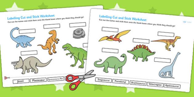 Dinosaur Scene Labelling Cut and Stick Worksheet - dinosaurs