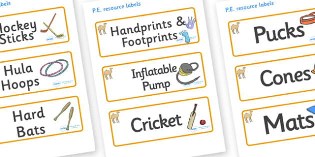 Camel Themed Editable PE Resource Labels - Themed PE label, PE equipment, PE, physical education, PE cupboard, PE, physical development, quoits, cones, bats, balls, Resource Label, Editable Labels, KS1 Labels, Foundation Labels, Foundation Stage Labe