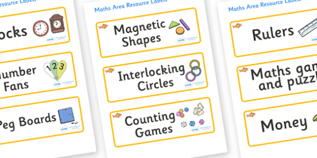 Goldfish Themed Editable Maths Area Resource Labels - Themed maths resource labels, maths area resources, Label template, Resource Label, Name Labels, Editable Labels, Drawer Labels, KS1 Labels, Foundation Labels, Foundation Stage Labels, Teaching La
